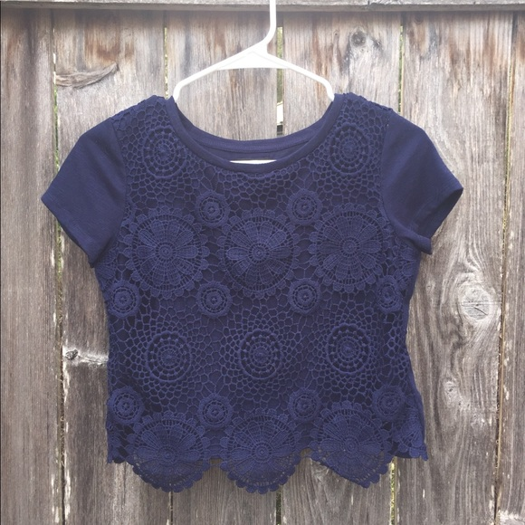 Forever 21 Tops - Lace/T-Shirt Crop Top - Navy